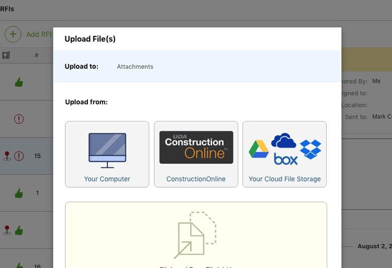RFI Upload Files Dashboard