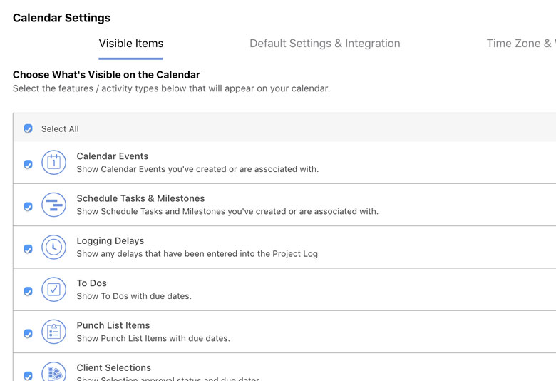 Construction Calendar Settings