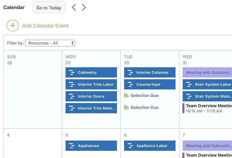 Construction Calendar Overview