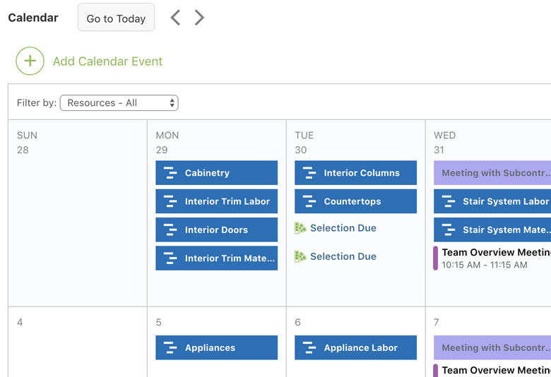 Construction Calendar Overview