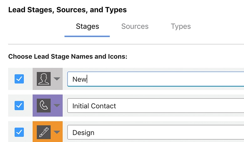 Customizable Lead Stages, Sources and Types