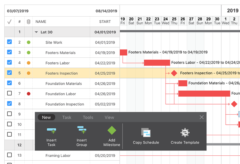Gantt Chart Construction Scheduling