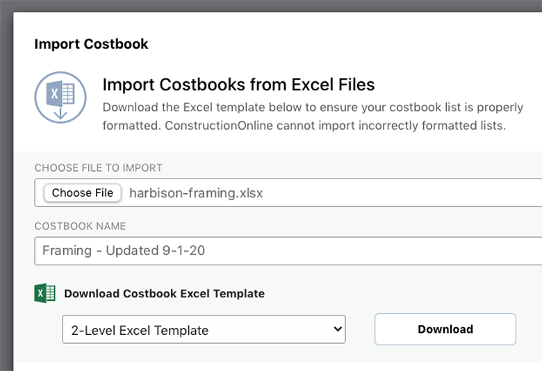 Import Costs from Excel